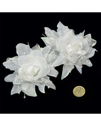 Шпильки с цветком цв.белый 7 см уп.60 шт арт. МГ-70584-1-МГ0262022