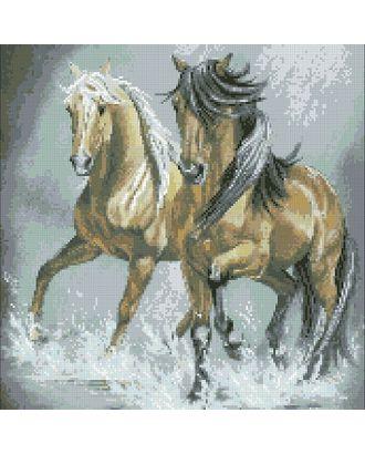 """Набор """"Паутинка"""" для изготовления к со стразами Пара лошадей 40х45 см арт. МГ-6013-1-МГ0371119"""