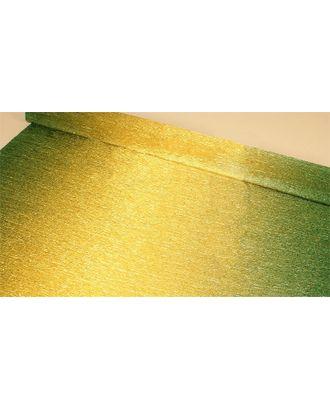 Бумага гофрированная с переходом Италия 50см х 2,5м 180г/м² цв.801/2 зелено-золотая арт. МГ-40602-1-МГ0372711