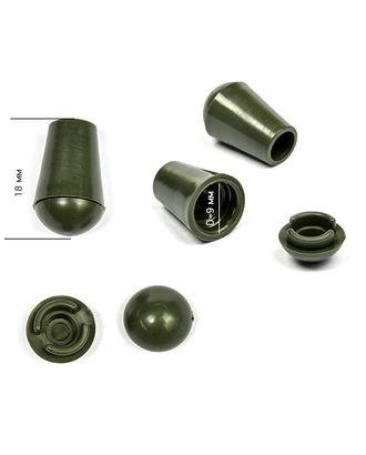 Наконечник для шнура пластик (Ø 4мм) цв.хаки арт. МГ-79555-1-МГ0374855