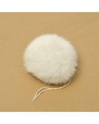 Помпон натуральный Кролик 10-13см цв.белый А арт. МГ-88517-1-МГ0493772