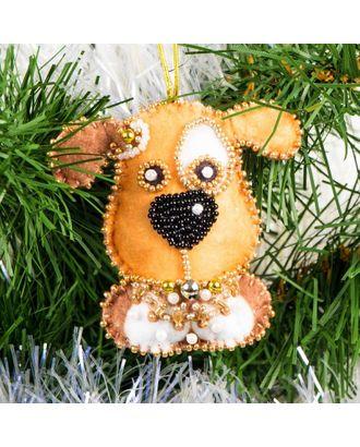 Набор для шитья и вышивания сувенир Новогодний щенок 7,5х7,5 см арт. МГ-6520-1-МГ0494077