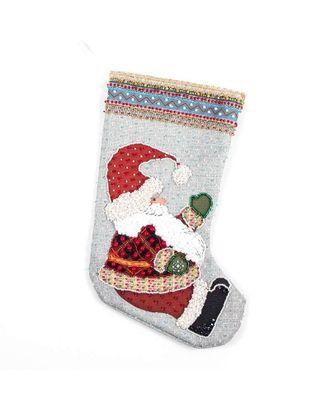 Набор для шитья и вышивания бисером носочек Дедушка мороз 19х30 см арт. МГ-6527-1-МГ0494084