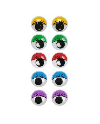 Глаза круглые с ресничками 10мм цв.МИКС арт. МГ-6635-1-МГ0500334