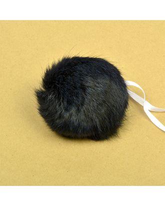 Помпон натуральный Кролик 10-13см цв.синий А арт. МГ-6809-1-МГ0507630