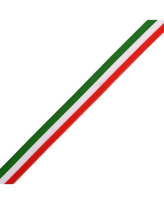 Тесьма тканая Рубчик неэластичная Лампас NET0315 шир.15мм цв.крас/бел/зел уп.45,7м арт. МГ-7018-1-МГ0531536