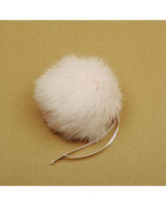 Помпон натуральный Кролик 10-13см цв.св.розовый/пудровый А арт. МГ-88539-1-МГ0556463