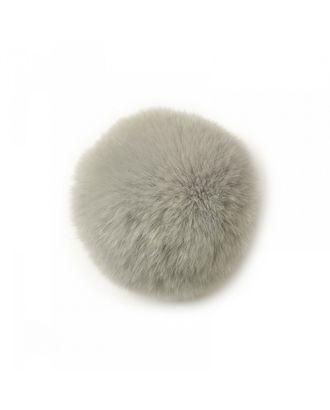 Помпон натуральный Кролик 8см цв.серый арт. МГ-7446-1-МГ0577228