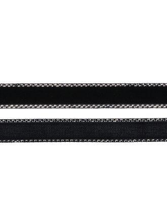Лента бархатная нейлон ш.1см цв.черный-серебро арт. МГ-80224-1-МГ0604715