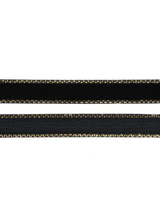 Лента бархатная нейлон ш.1см цв.черный-золото арт. МГ-80226-1-МГ0604717