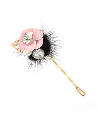 Булавка шляпная металл Цветок с мехом и жемчужинами 87х32мм цв. золото/черный/розовый арт. МГ-72945-1-МГ0606622