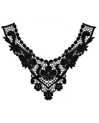 Воротник кружевной 29х23см цв.02 черный арт. МГ-8687-1-МГ0630158