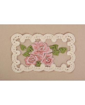 Кружевная вставка на сетке с цветами 135х80мм цв.молочный/розовый/зеленый уп.5шт арт. МГ-73362-1-МГ0639017