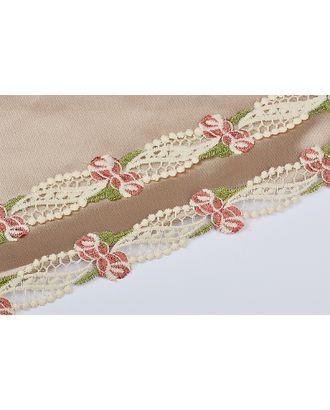 Кружево на сетке матовая нить ш.3,5см цв.молочный/розовый/зеленый арт. МГ-73370-1-МГ0639027