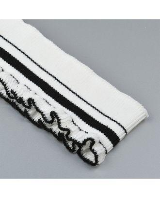 Подвяз трикотажный полиэстер РЮШ цв.белый с черными полосами арт. МГ-9268-1-МГ0641171