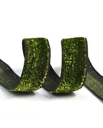 """Лента """"Бархотка"""" рис.8379 ш.2см цв.03 зеленый/черный арт. МГ-80436-1-МГ0642996"""
