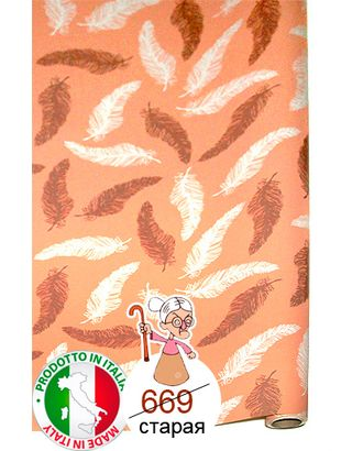 Бумага капелла 41/613-37 перья на персиковом (100см х 10м) арт. МГ-55872-1-МГ0662386