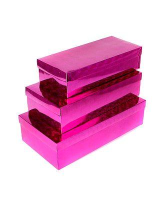 Коробка гологр. 34/064-25 набор из 3 прямоуг. цветы малиновые (34х15х8см-40х21х10см) арт. МГ-56423-1-МГ0663729