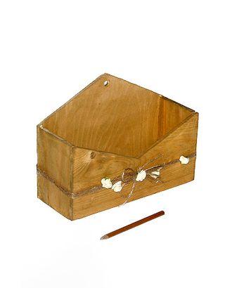 Коробка деревянная 612/01-93 конверт гор. c декором мини-розы- натуральная (23х17х9см) арт. МГ-56467-1-МГ0663773
