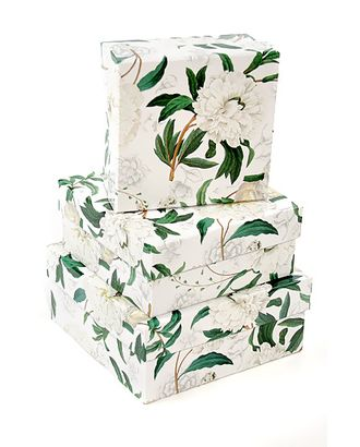 Коробка к наб. из 3 квадратов- свадебное соцветие (14х14х6см-18х18х8см) арт. МГ-56636-1-МГ0664359