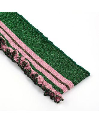 Подвяз трикотажный полиэстер цв.зеленый с розовыми полосами с люрексом арт. МГ-9919-1-МГ0664664