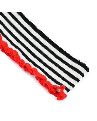 Подвяз трикотажный полиэстер цв.молочный с черными и красной полосами арт. МГ-9931-1-МГ0664699