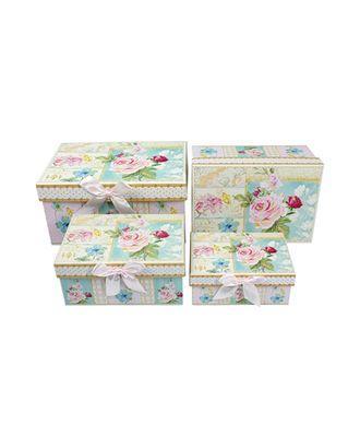Коробка к наб. из 4 прямоуг.- розы акварель (14х10х6-23х16х12см) арт. МГ-57097-1-МГ0664858