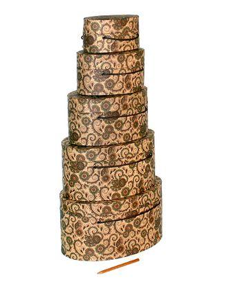 Коробка крафт 059/182 наб. из 5 овал.- восточные мотивы (15х10х7см-29х20х14см) арт. МГ-58029-1-МГ0667356