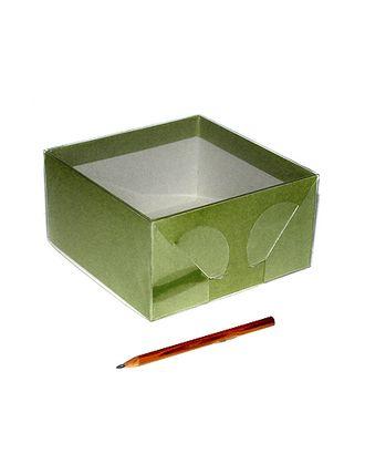Коробка крафт 305/041 квадрат однотон. лайм с пласт. крышкой (15х15х8см) арт. МГ-58071-1-МГ0667401