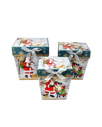 Коробка к наб. из 3 трапеций- нов.год бородатый почтальон (11x11x12-14х14х15cm) арт. МГ-58451-1-МГ0667805