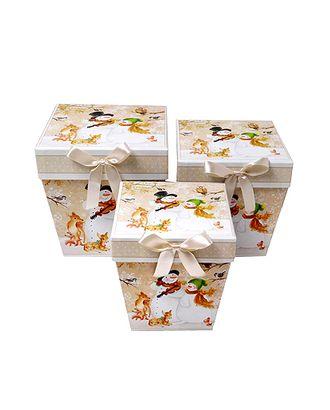 Коробка к наб. из 3 трапеций- нов.год снежный дуэт (11x11x12-14х14х15cm) арт. МГ-58452-1-МГ0667806