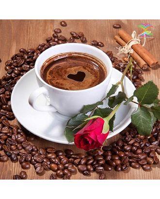 Алмазная мозаика Ah0104 Кофе и красная роза 40х40 арт. МГ-10092-1-МГ0671496