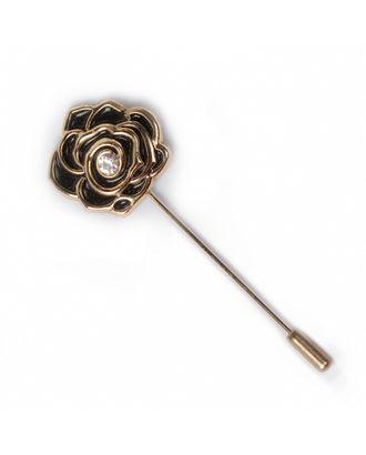 Булавка шляпная металл Роза со стразой цв. золото/черный арт. МГ-88580-1-МГ0676852