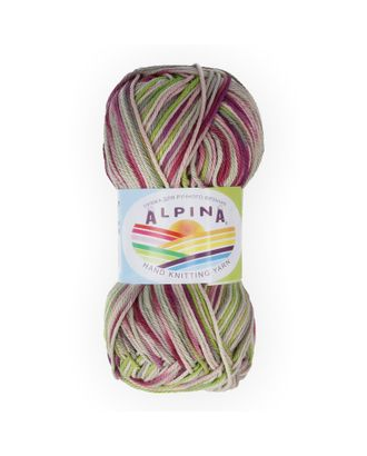 "Пряжа ALPINA ""KATRIN"" (100% мерсеризованный хлопок) 10х50г/140м цв.218 малиновый-зеленый-серый-голубой арт. МГ-62292-1-МГ0685915"