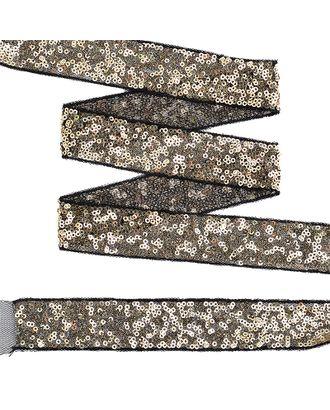 Тесьма с пайетками на сетке ш.3см цв.черный+золото арт. МГ-10529-1-МГ0710064