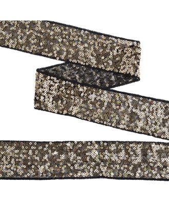 Тесьма с пайетками на сетке ш.5см цв.черный+золото арт. МГ-10530-1-МГ0710065