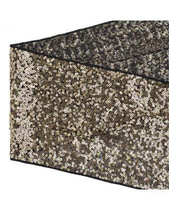 Тесьма с пайетками на сетке ш.15см цв.черный+золото арт. МГ-10531-1-МГ0710066