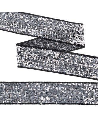 Тесьма с пайетками на сетке ш.5см цв.черный+серебро арт. МГ-10537-1-МГ0710072