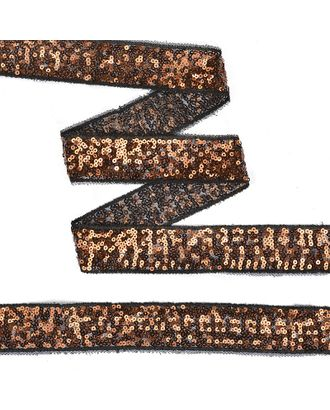 Тесьма с пайетками на сетке ш.3см цв.черный+розовое золото арт. МГ-10542-1-МГ0710077