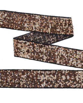 Тесьма с пайетками на сетке ш.5см цв.черный+розовое золото арт. МГ-10543-1-МГ0710078