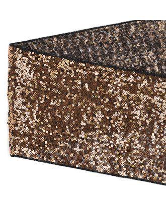 Тесьма с пайетками на сетке ш.15см цв.черный+розовое золото арт. МГ-10544-1-МГ0710079