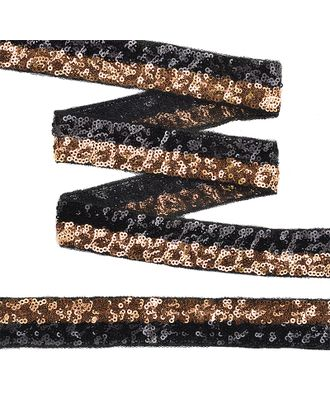 Тесьма с пайетками с двумя полосками на сетке ш.3см цв.черный+розовое золото арт. МГ-10551-1-МГ0710086
