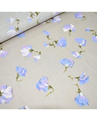 Ткань лен Цветущий горошек, 125г/м, 30%лен+70%хлопок, цв.натуральный уп.50х50см арт. МГ-10931-1-МГ0718272