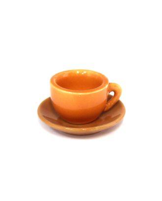Кружка+блюдце керам.  2,5х3,7см+1,1х6см цв.оранжевый арт. МГ-80927-1-МГ0723812