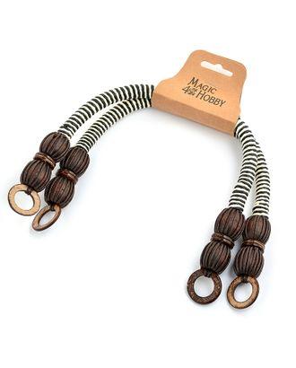 Ручка для сумки, вощен.шнур, длина 42см, цв.коричнево/белый, уп.2шт арт. МГ-66898-1-МГ0739968