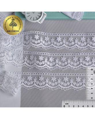 Кружево на сетке KRUZHEVO ш.3,5см цв.01 белый арт. МГ-81250-1-МГ0743428