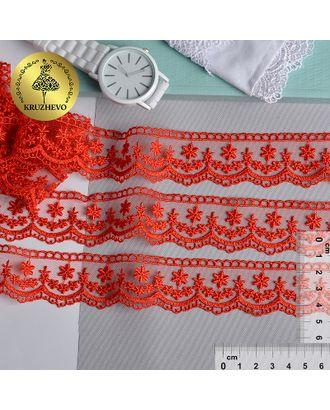 Кружево на сетке KRUZHEVO ш.3,5см цв.07 красный арт. МГ-81256-1-МГ0743434