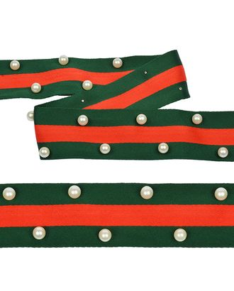 Тесьма-стропа Лампас с бусинами PB8 ш.4см цв.зеленый/красный арт. МГ-13970-1-МГ0744050