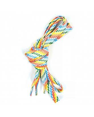Шнурки плоские 10мм турецкое плетение дл.100см цв. радуга точки (25 компл) арт. МГ-81550-1-МГ0747679