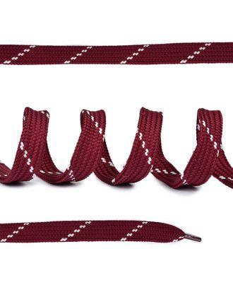 Шнурки плоские ш.1,4см классическое плетение дл.100см бардовые-белые точки (10 компл) арт. МГ-81680-1-МГ0749677